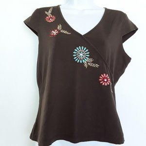 Requirements Brown Floral Embroidered Beaded Top